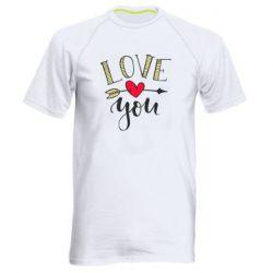 Чоловіча спортивна футболка I love you and heart