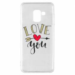 Чохол для Samsung A8 2018 I love you and heart