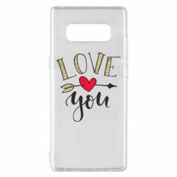 Чохол для Samsung Note 8 I love you and heart