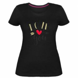 Жіноча стрейчева футболка I love you and heart