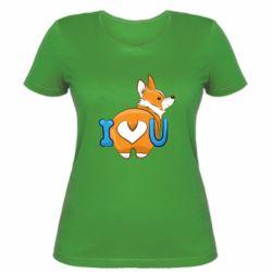 Женская футболка I love you corgi