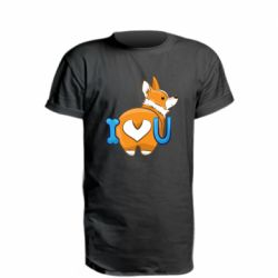 Удлиненная футболка I love you corgi