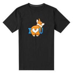 Мужская стрейчевая футболка I love you corgi