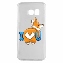 Чехол для Samsung S6 EDGE I love you corgi
