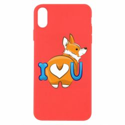 Чехол для iPhone Xs Max I love you corgi