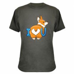 Камуфляжная футболка I love you corgi