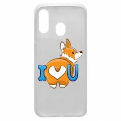 Чехол для Samsung A40 I love you corgi