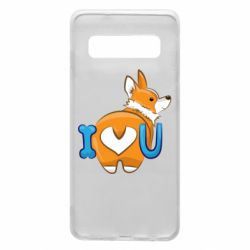 Чехол для Samsung S10 I love you corgi
