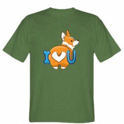 Мужская футболка I love you corgi