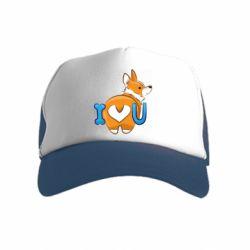 Детская кепка-тракер I love you corgi