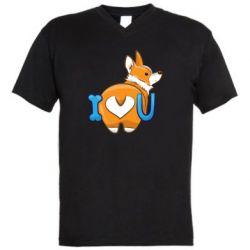 Мужская футболка  с V-образным вырезом I love you corgi