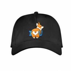 Детская кепка I love you corgi