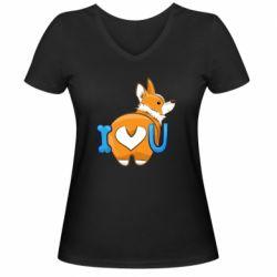Женская футболка с V-образным вырезом I love you corgi