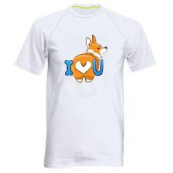 Мужская спортивная футболка I love you corgi