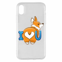 Чехол для iPhone X/Xs I love you corgi