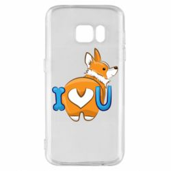 Чехол для Samsung S7 I love you corgi