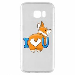 Чехол для Samsung S7 EDGE I love you corgi