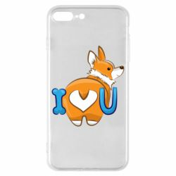 Чехол для iPhone 8 Plus I love you corgi
