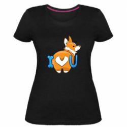 Женская стрейчевая футболка I love you corgi