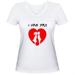 Женская футболка с V-образным вырезом I love you - FatLine