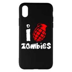 Чехол для iPhone X/Xs I love zombies