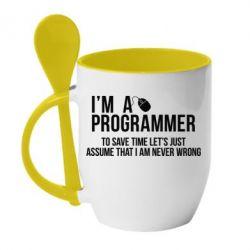 Кружка с керамической ложкой I'm a programmer to save time let's just assume i'm never wrong