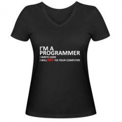 Женская футболка с V-образным вырезом I'm a programmer