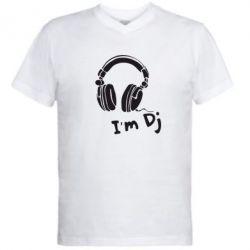 Мужская футболка  с V-образным вырезом I'm DJ