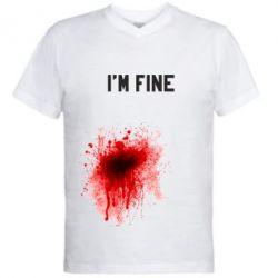 Мужская футболка  с V-образным вырезом I'm fine - FatLine