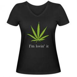 Женская футболка с V-образным вырезом I'm lovin it! - FatLine