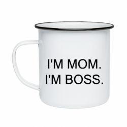 Кружка емальована I'm mom. i'm boss.