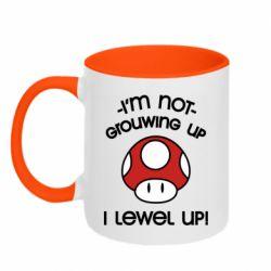 Кружка двухцветная 320ml I'm not growing up, i level up