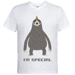 Мужская футболка  с V-образным вырезом I'm special Sloth