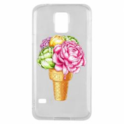 Чохол для Samsung S5 Ice cream flowers
