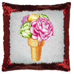 Подушка-хамелеон Ice cream flowers