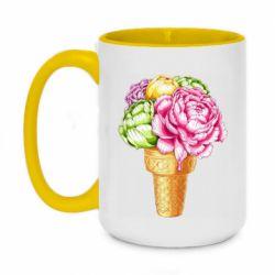 Кружка двоколірна 420ml Ice cream flowers