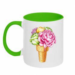 Кружка двоколірна 320ml Ice cream flowers