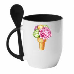 Кружка з керамічною ложкою Ice cream flowers