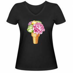 Жіноча футболка з V-подібним вирізом Ice cream flowers