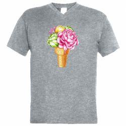 Чоловіча футболка з V-подібним вирізом Ice cream flowers