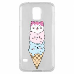 Чехол для Samsung S5 Ice cream kittens