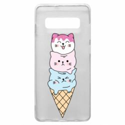Чехол для Samsung S10+ Ice cream kittens