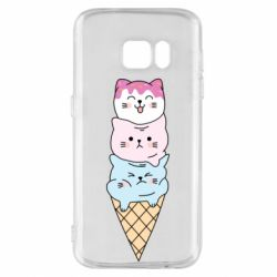 Чехол для Samsung S7 Ice cream kittens