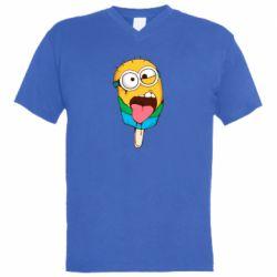 Мужская футболка  с V-образным вырезом Ice cream minions