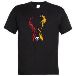 Мужская футболка  с V-образным вырезом Ichigo and Rukia