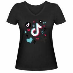 Жіноча футболка з V-подібним вирізом Icons TIK TOK