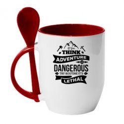 Кружка з керамічною ложкою If you think adventure is dangerous try routine it's lethal