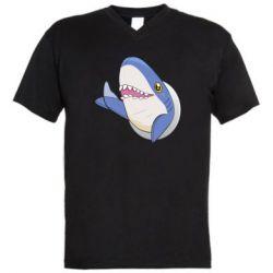 Мужская футболка  с V-образным вырезом Ikea Shark Blahaj