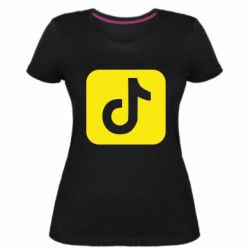 Женская стрейчевая футболка Иконка тик ток