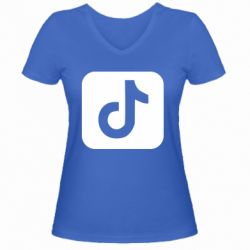 Женская футболка с V-образным вырезом Иконка тик ток